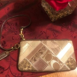Coach patchwork brown wristlet